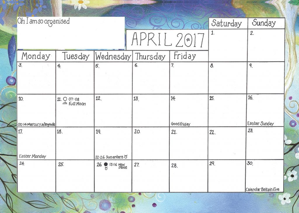 2017 Calendar Sample Pages : Earthpathways Diary