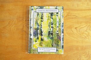 Diary front illustration of beech trees in forest